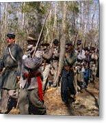 Civil War Soldiers March Through Woods Metal Print