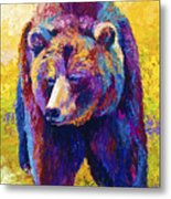 Close Encounter - Grizzly Bear Metal Print by Marion Rose