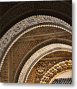 Close-up View Of Moorish Arches In The Alhambra Palace In Granad Metal Print