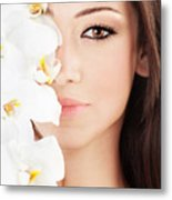 Closeup On Beautiful Face With Flowers Metal Print by Anna Om