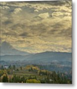 Clouds And Sun Rays Over Mount Hood And Hood River Oregon Metal Print