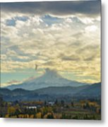 Cloudy Day Over Mount Hood At Hood River Oregon Metal Print