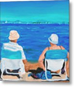 Clyde And Elma At The Beach Metal Print