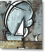 Coastal Art Contemporary Sailboat Painting Whimsical Design Silver Sea I By Madart Metal Print