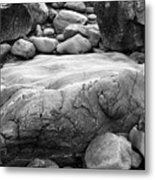 Coastal Granite In Black And White Metal Print