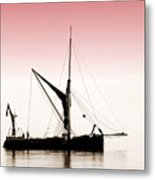 Coble Sailing  Against Pint Sky Metal Print
