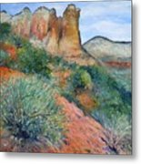 Coffee Pot Rock Sedona Arizona Usa 2001   Metal Print
