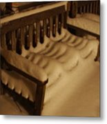 Cold Bench In The Snow Metal Print