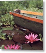 Colombian Boat And Flowers Metal Print