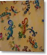 Color Lizards On The Wall Metal Print