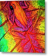 Colorful Frog On Leaf Metal Print