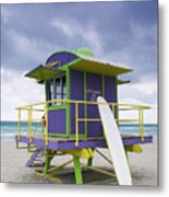 Colorful Lifeguard Station And Surfboard Metal Print by Jeremy Woodhouse