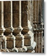 Columns Creating The Facade Of A Gothic-style Church Metal Print
