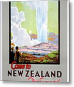 Come To New Zealand Vintage Travel Poster Metal Print