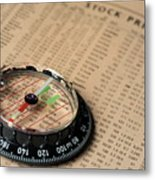 Compass On Stockmarket Cotation In Newspaper Metal Print