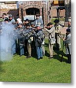 Confederate Soldiers Fire Metal Print