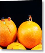 Construction On Oranges Metal Print