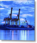 Container Cargo Freight Ship With Working Crane Bridge In Shipya Metal Print by Anek Suwannaphoom