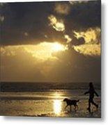 County Meath, Ireland Girl Walking Dog Metal Print