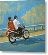 Couple Ride On Bike Metal Print