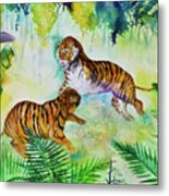 Courting Tigers. Metal Print by Larry  Johnson