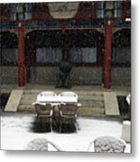 Courtyard In The Snow Metal Print
