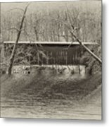 Covered Bridge In Black And White Metal Print