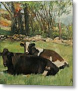 Cow Buddies Metal Print