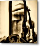 Cowboy Hat And Fiddle Metal Print