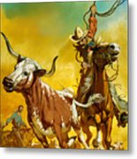 Cowboy Lassoing Cattle  Metal Print by Angus McBride