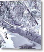 Cranberry River Winter Heavy Snow Metal Print