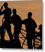 Crewmen Salute The American Flag Metal Print by Stocktrek Images