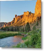 Crooked River And Monkey Face At Smith Rock Metal Print