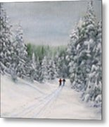 Cross Country Skiers Metal Print