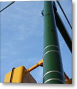 Cross Walk Pole Metal Print