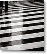 Crosswalk In Rain Metal Print