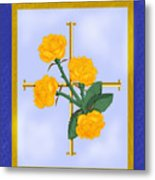 Crusader Cross And Four Gospel Roses Metal Print