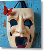 Crying Mask And Red Butterfly Metal Print