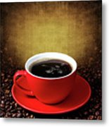 Cup Of Coffee On Grunge Textured Background Metal Print