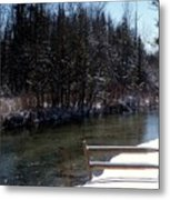 Cut River In Winter With Ducks Metal Print