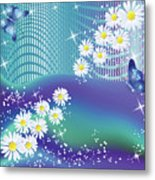 Daisies And Butterflies On Blue Background Metal Print