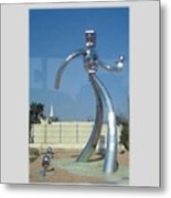 Dallas Tx Statute Thin Tin Man Thru A Window Metal Print
