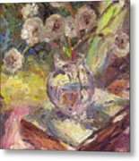 Dandelions Flowers In A Vase Sunny Still Life Painting Metal Print