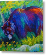 Dandelions For Dinner - Black Bear Metal Print
