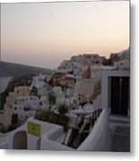 Dawn In Oia Santorini Greece Metal Print