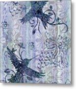 Deco Hummingbird Blue Metal Print