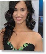 Demi Lovato Wearing A Bcbg Max Azria Metal Print by Everett