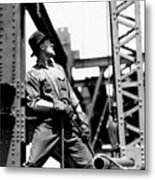 Derrick Man   Empire State Building Metal Print by LW Hine