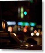 Detail Of A Taxi At Night, New York City, Usa Metal Print
