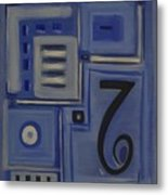 Details In Blue Metal Print